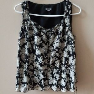 Ann taylor floral sleeveless blouse tie at waist